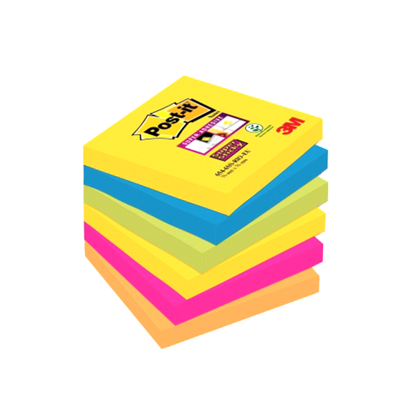 Blocs notas Post-it® Super Sticky Miami. Pack 6