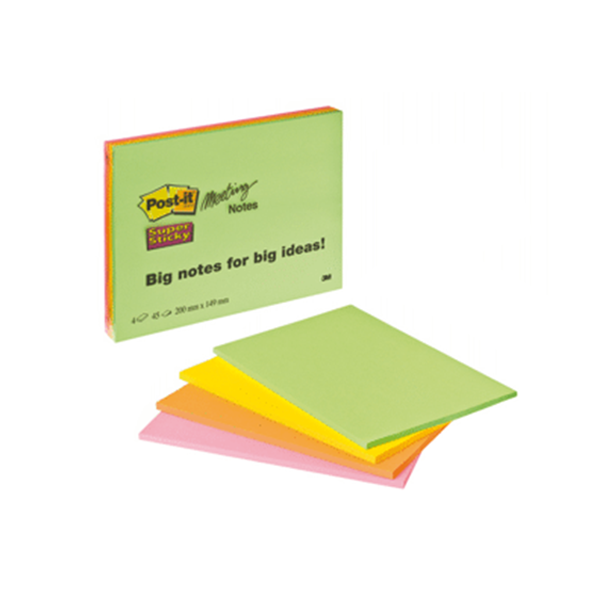 Blocs notas Post-it® Super Sticky Gigante. Pack 4